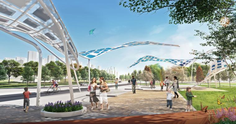[山东]青岛海洋活力滨海广场绿地景观设计-风河广场效果图