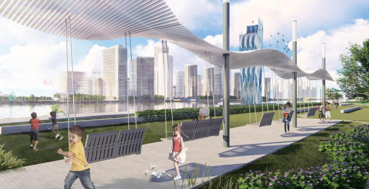 [山东]青岛海洋活力滨海广场绿地景观设计-凤展景廊效果图