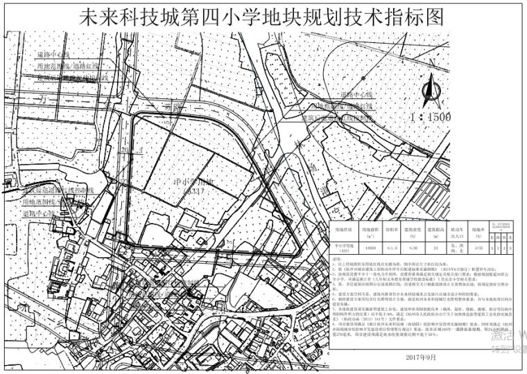 未来科技城附属中小学建设工程(初步设计)-3-地块规划技术指标图
