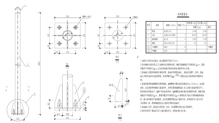 [郑州]城市快速路_交通工程施工图设计-Ф 89立柱结构安装图
