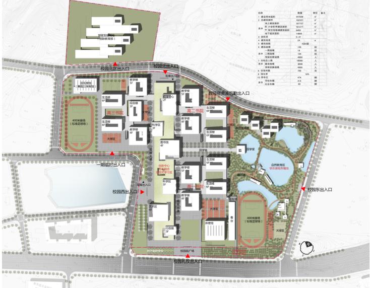 [广东]珠海中学工程设计建筑方案95页-8-总平面图