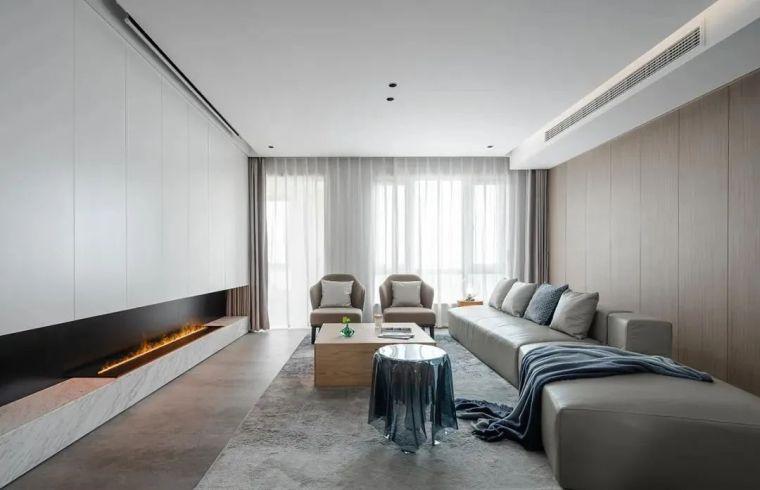 木饰面板+雾化壁炉,越简约越舒适_5