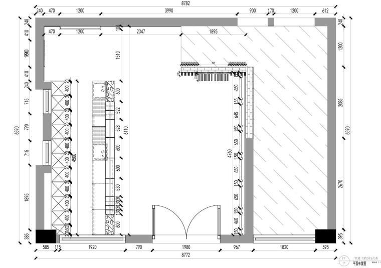 [广东]现代风沁-餐厅装修施工图设计+模型-01 平面布置图