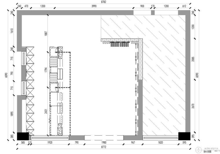 [广东]现代风沁-餐厅装修施工图设计+模型-排水示意图