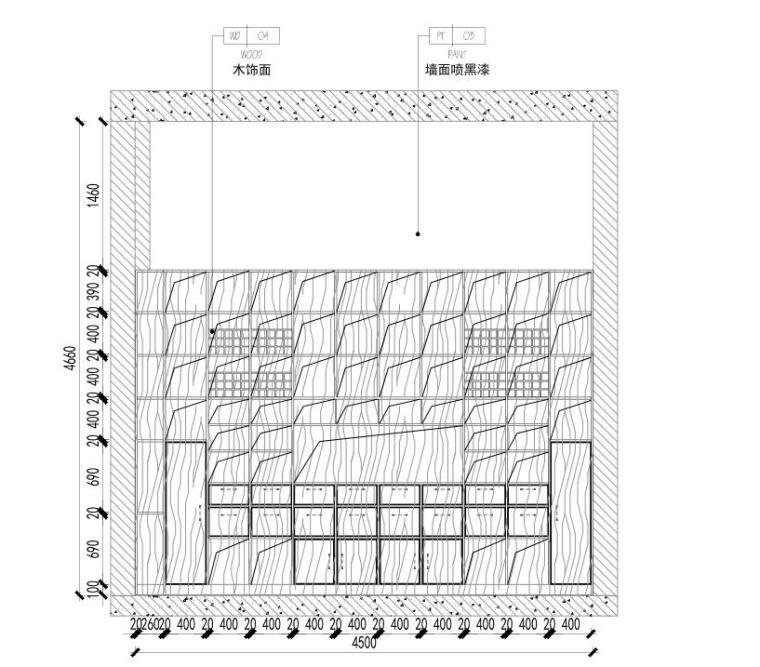 [广东]现代风沁-餐厅装修施工图设计+模型-餐厅立面图三