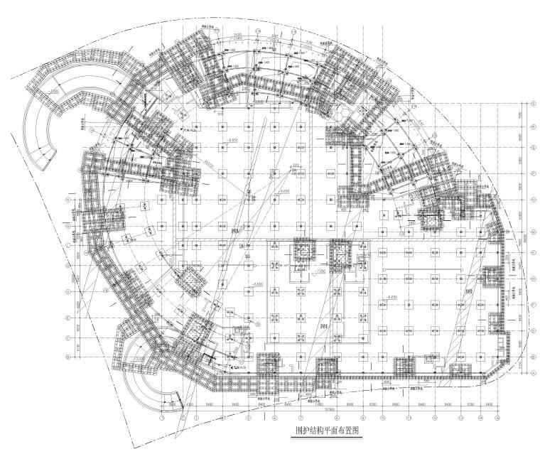 [上海]5层钢框架结构社区中心全套图纸2018-围护结构平面布置图