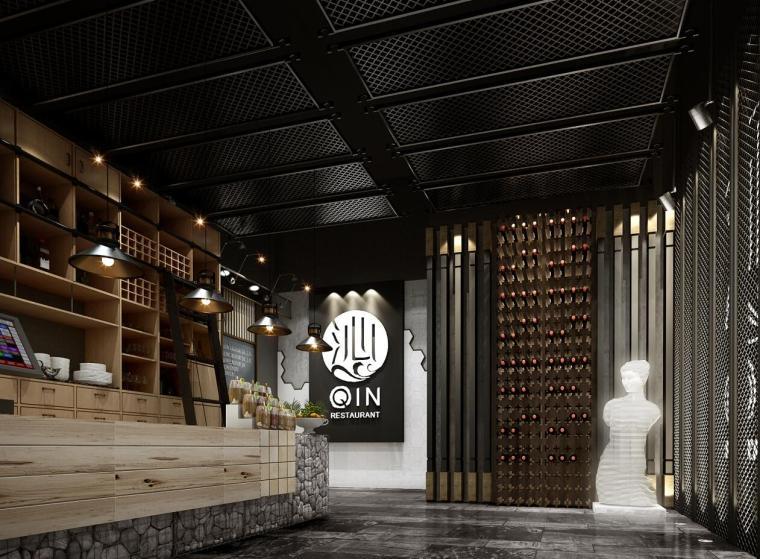 [广东]现代风沁-餐厅装修施工图设计+模型-效果图