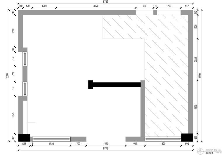 [广东]现代风沁-餐厅装修施工图设计+模型-原始结构图