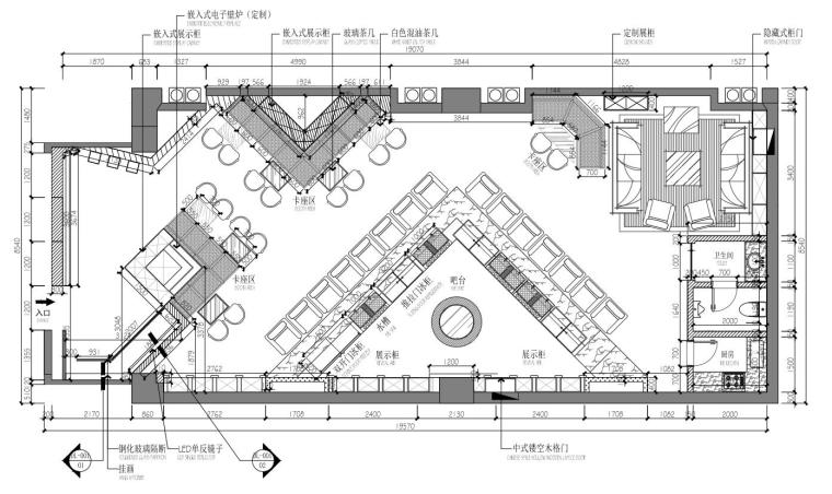 """呼和浩特现代风""""翼""""酒吧装修施工图+实景-01 平面布置图"""