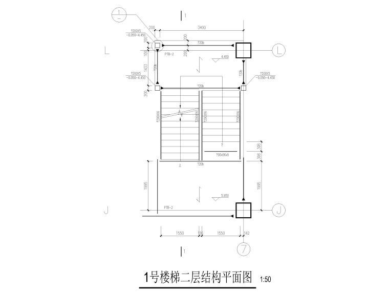 [上海]5层钢框架结构社区中心全套图纸2018-楼梯结构平面图