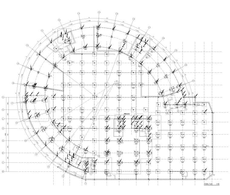 [上海]5层钢框架结构社区中心全套图纸2018-基础接地平面图