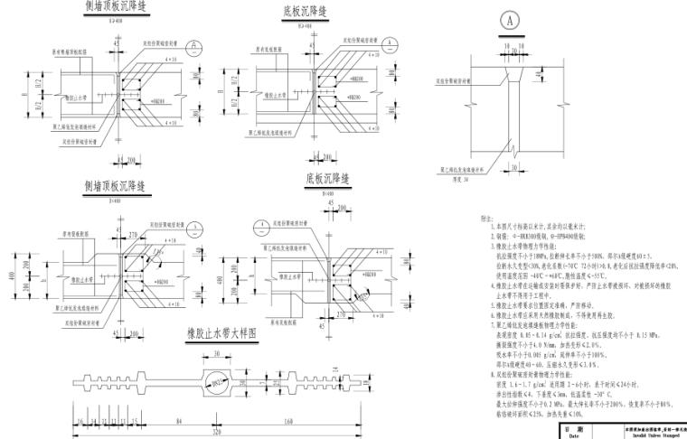 [郑州]城市快速路_雨水工程施工图设计-雨水箱涵沉降缝大样图
