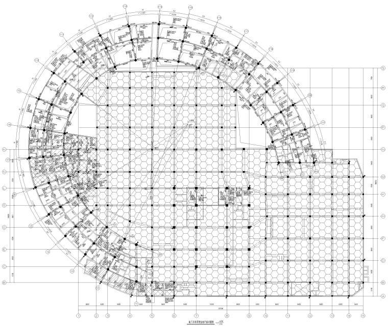 [上海]5层钢框架结构社区中心全套图纸2018-地下车库顶梁结构平面布置图