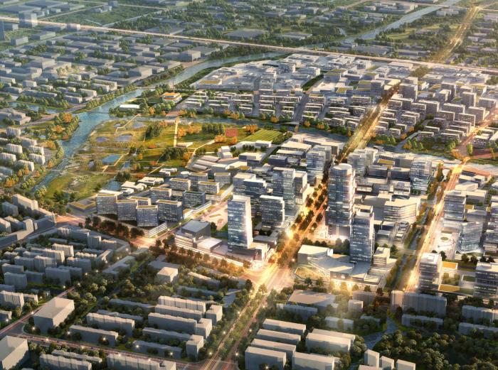 上海青浦河口地区城市设计规划_知名事务所-鸟瞰图