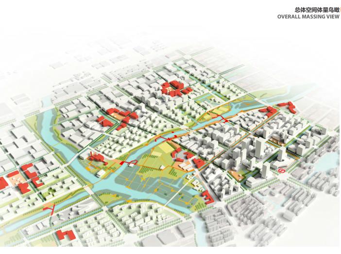 上海青浦河口地区城市设计规划_知名事务所-总体空间体量鸟瞰