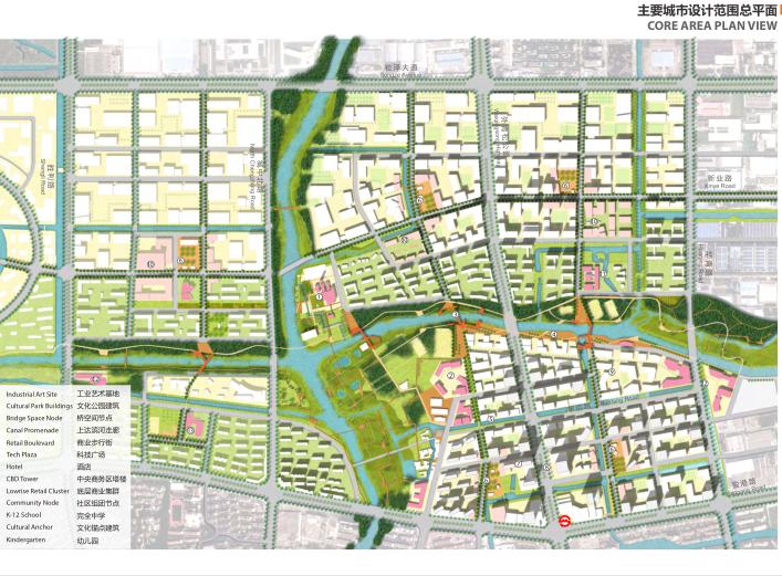 上海青浦河口地区城市设计规划_知名事务所-主要城市设计范围总平面