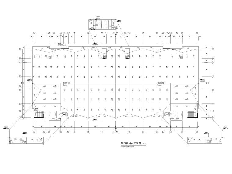 [贵州]6栋产业孵化园给排水施工图2018-屋顶给排水平面图