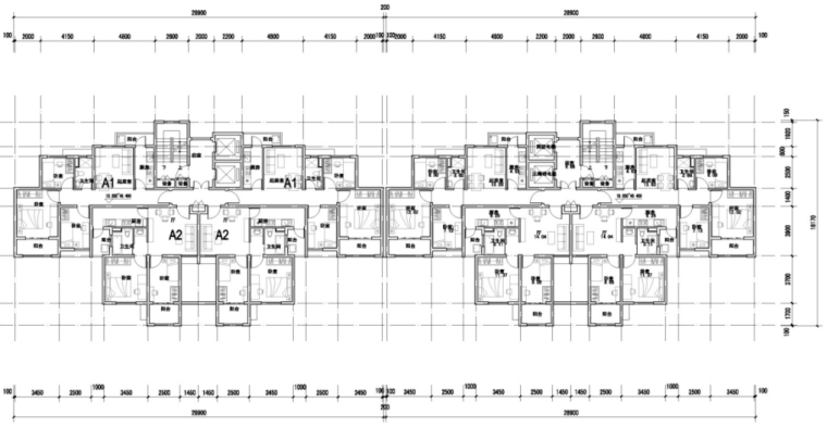 剪力墙结构适用房混凝土工程专项施工方案-02 标准层平面图