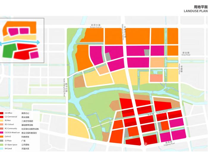 上海青浦河口地区城市设计规划_知名事务所-用地平面