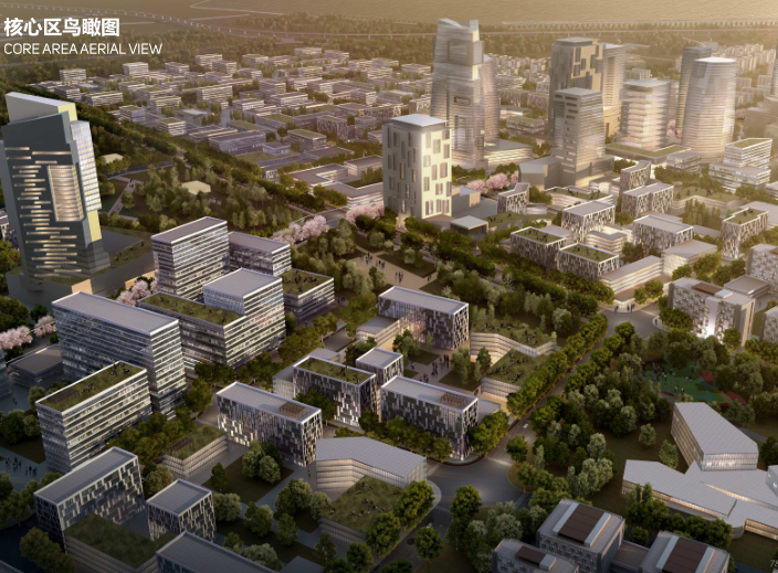 世界动车小镇国家创新中心概念规划城市设计-核心区鸟瞰图