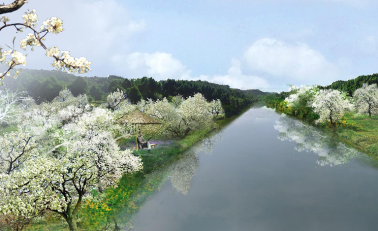 [四川]生态绿廊水系治理旅游休闲景观方案-梨花沟效果图