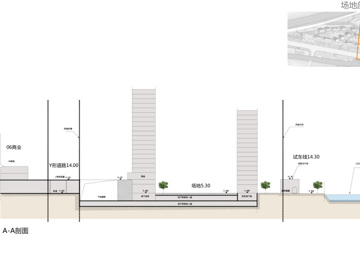 上海徐泾镇装配式高层住宅建筑方案设计文本-场地剖面图