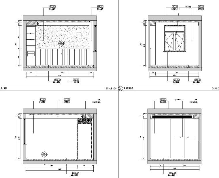 中加生态城样板间施工图+效果图-儿童房立面图