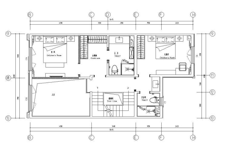 中加生态城样板间施工图+效果图-二层平面布置图