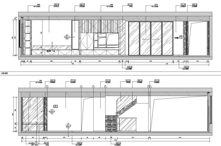 中加生态城样板间施工图+效果图-过道餐厅立面图