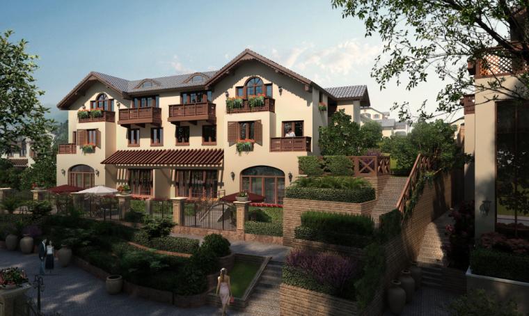 [广东]惠州英伦风格特色小镇景观概念规划-住宅庭院景观效果图