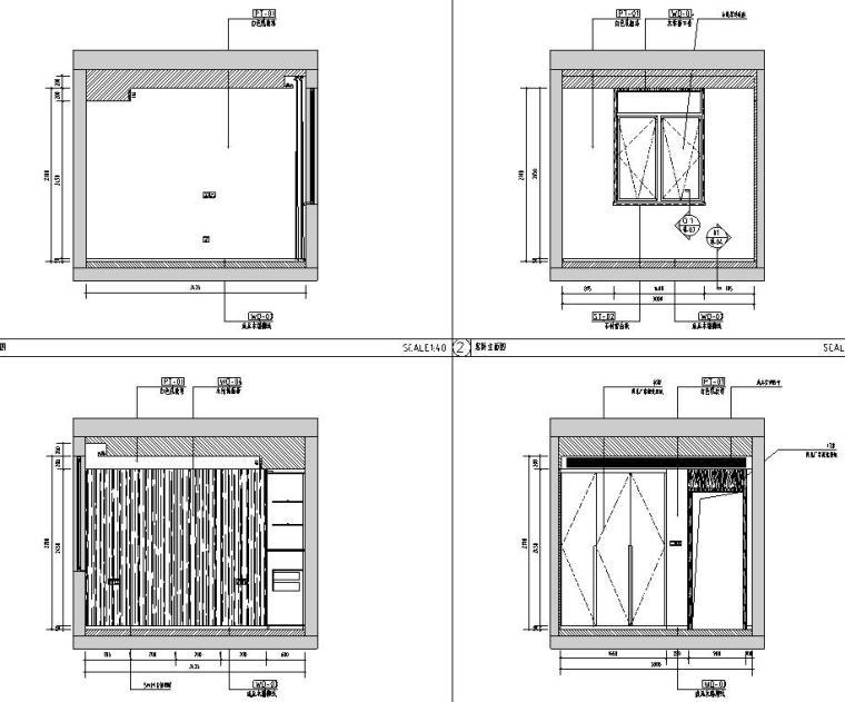 中加生态城样板间施工图+效果图-客卧立面图