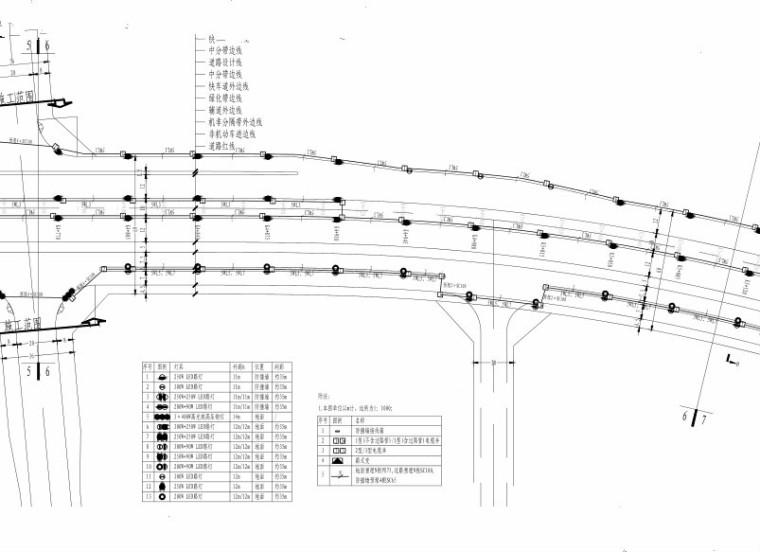 [郑州]城市快速路_照明工程施工图设计-路灯照明平面图
