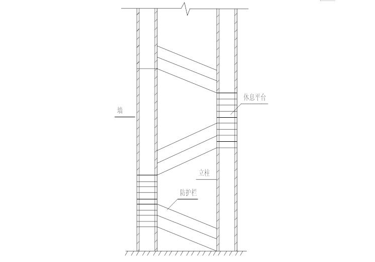 18层剪力墙结构住宅悬挑脚手架施工专项方案-08 楼梯防护示意