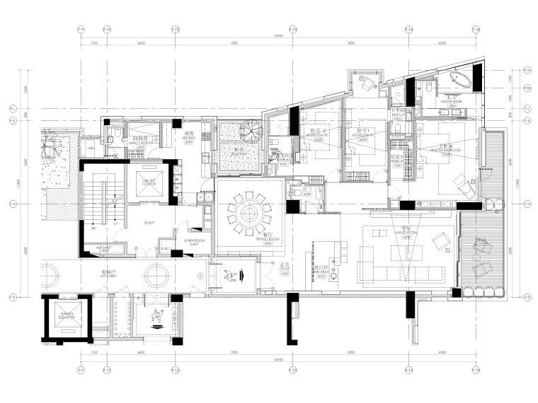 [三亚]四季公寓270㎡三居样板间装修施工图-平面布置图