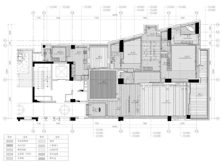 [三亚]四季公寓270㎡三居样板间装修施工图-地面铺装图