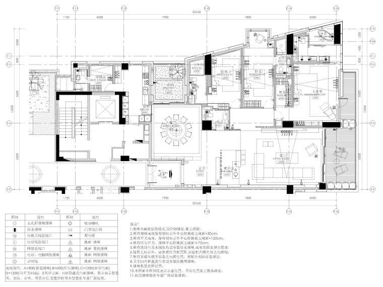 [三亚]四季公寓270㎡三居样板间装修施工图-插座配置平面图