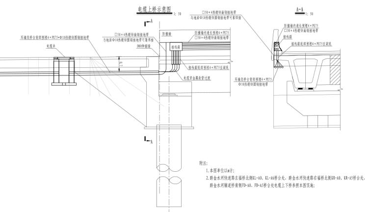 [郑州]城市快速路_照明工程施工图设计-电缆上桥示意图