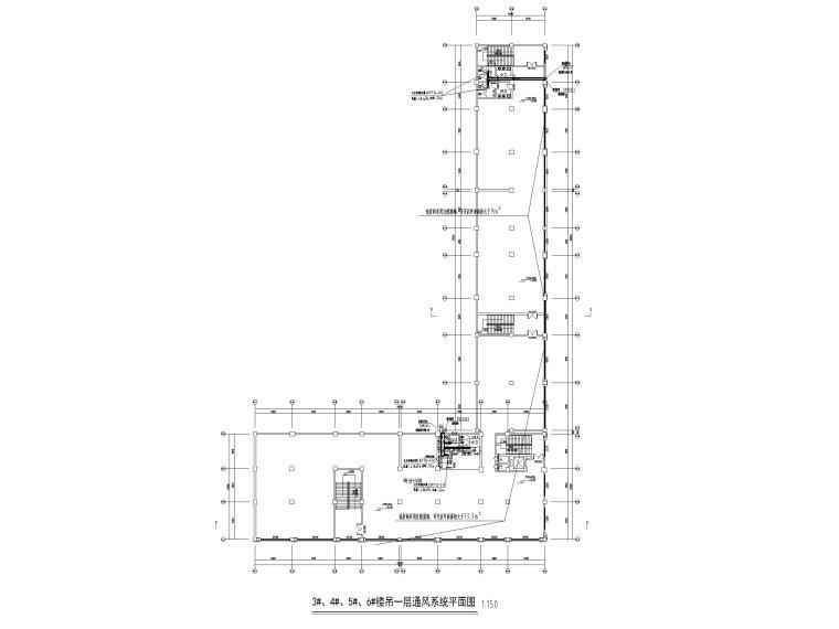 [贵州]产业园宿舍通风及防排烟设计含招标-3#、4#、5#、6#楼吊一层通风系统平面图