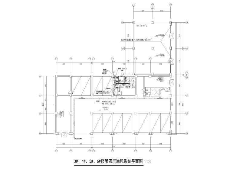 [贵州]产业园宿舍通风及防排烟设计含招标-3#、4#、5#、6#楼吊四层通风系统平面图