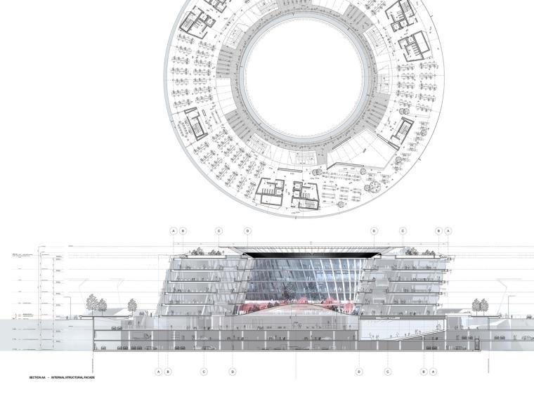 宁波太平鸟时尚中心平面和剖面图