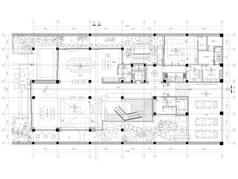 [三亚]四季酒店二层四居度假别墅装修施工图-负一层平面布置图