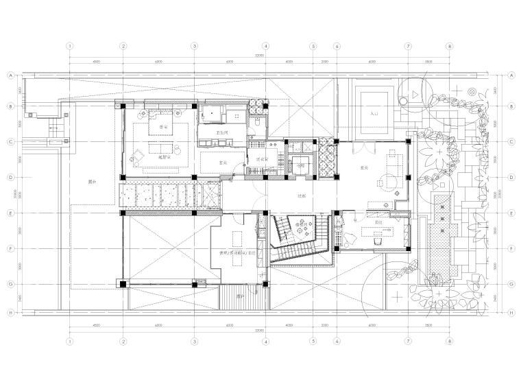 [三亚]四季酒店二层四居度假别墅装修施工图-一层平面布置图