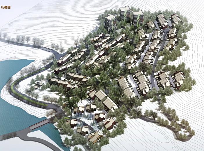 [吉林]松花湖度假村联排别墅区规划设计文本-鸟瞰图
