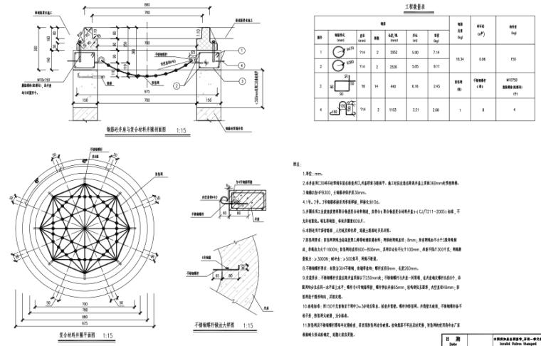 [郑州]城市快速路_污水工程施工图设计-沥青路面检查井井座及防坠网安装网