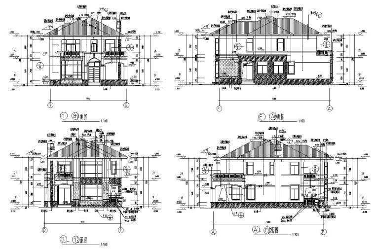 欧式风格二层别墅结构施工图CAD含建筑图-建筑立面图