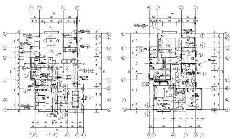 欧式风格二层别墅结构施工图CAD含建筑图-建筑平面图
