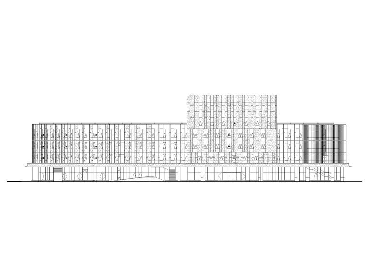 [上海]装配式产业园综合服务中心建筑施工图-综合服务中心立面图