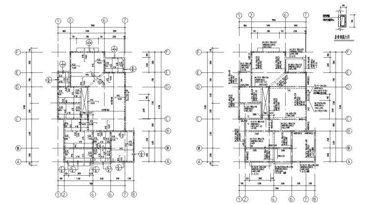 欧式风格二层别墅结构施工图CAD含建筑图-结构平面图