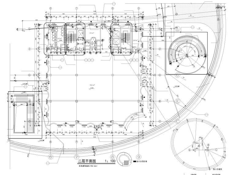 [上海]装配式产业园综合服务中心建筑施工图-1#楼二层平面图