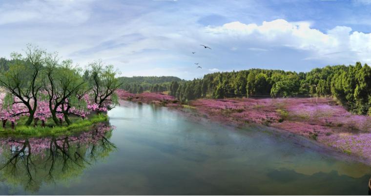 [四川]生态绿廊水系治理旅游休闲景观方案-桃花源区效果图